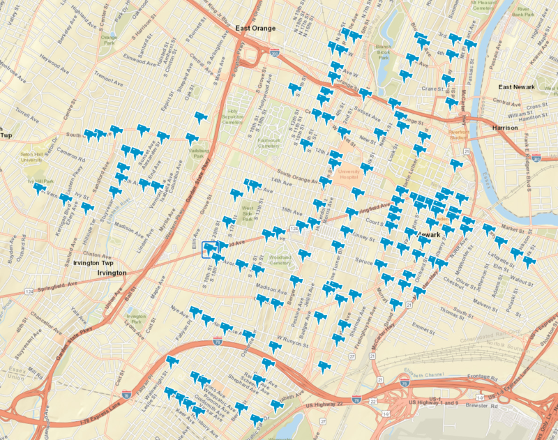 A map of Newark with icons marking the location of cameras.