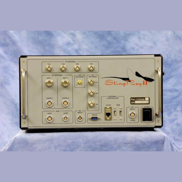 Control panel of a Stingray cell-site simulator, showing inputs and power switch