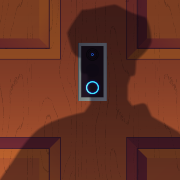 Illustration showing shadow of police officer cast over a ring camera in a door