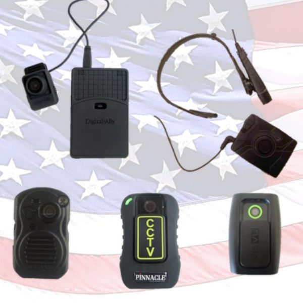 A collection of different brands of body worn cameras with a United States flag in the background