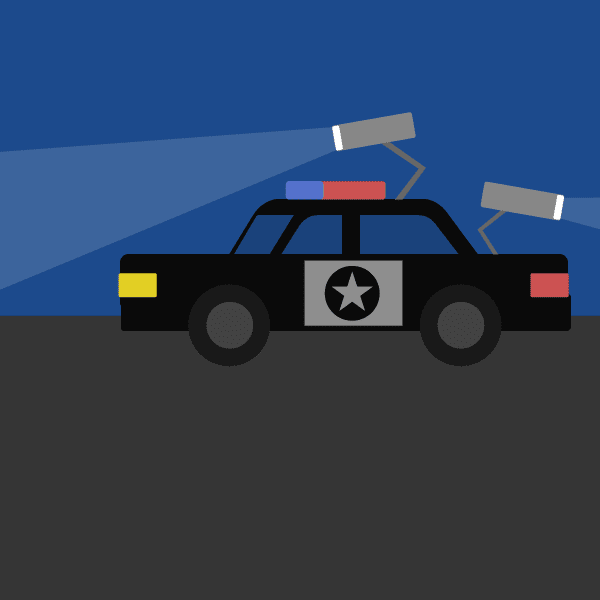 An illustration of a police car with cameras aimed at another vehicle.